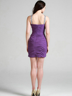 Beautiful Sheath/Column Jewel Short/Mini Tiered Cocktail Dresses
