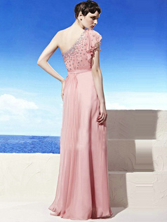 Beautiful Sheath/Column One shoulder Floor-length Chiffon Evening Dresses