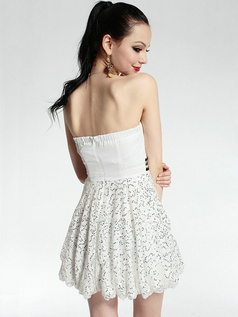 Beautiful Sheath Sequined Short Strapless Crystal Cocktail Dresses