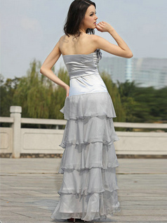 Brilliant A-line Strapless Floor-length Tiered Prom/Evening Dresses
