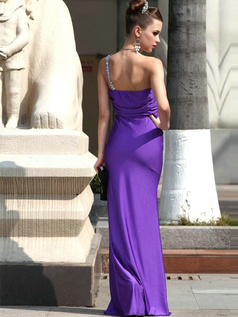 Brilliant Sheath/Column Satin Sweetheart One shoulder Sequin Prom Dress , Evening Dress