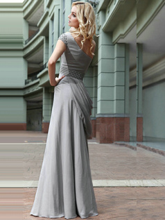 Elegant A-line One shoulder Floor-length Beading Chiffon Evening Dresses