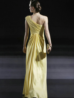 Elegant A-line Stretch Satin One shoulder Beading Evening Dresses