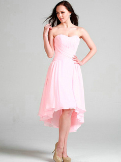 Elegant A-line Sweetheart Asymmetrical Train Draped Cocktail/Prom Dresses