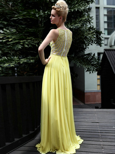 Elegant Sheath/Column Chiffon Bateau Draped Prom/Evening Dresses
