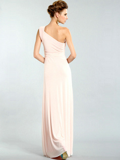 Elegant Sheath/Column Chiffon One shoulder Draped Evening/Prom Dresses