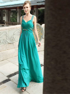 Elegant Sheath/Column V-neck Floor-length Beading Evening Dresses