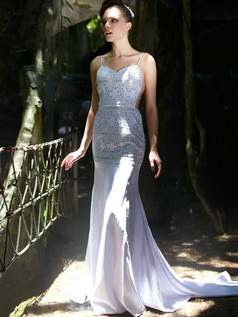 Fantasy Mermaid/Trumpet Satin Spaghetti Straps Court Train Prom/Evening Dresses