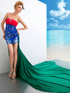 Fantasy Sheath/Column Satin Tube Top Sequin Prom Dresses