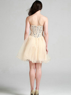 Glamorous A-line Organza Sweetheart Crystal Cocktail/Sweet 16 Dresses