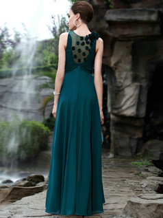 Glamorous A-line Round Brought Floor-length Flower Prom/Evening Dresses
