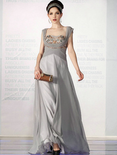 Glamorous A-line Square Floor-length Beading Evening/Prom Dresses