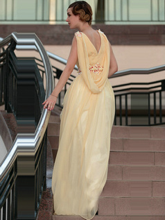 Glamorous A-line V-neck Floor-length Beading Sequin Chiffon Evening/Prom Dresses