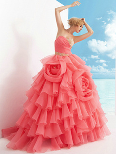 Glamorous Ball Gown Tulle Sweetheart Flower Prom Dresses
