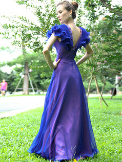 Glamorous Sheath/Column Chiffon Floor-length Beading Prom/Evening Dresses