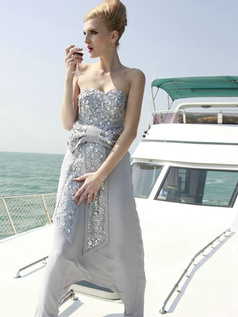 Glamorous Sheath/Column Chiffon Floor-length Bowknot Prom/Evening Dresses
