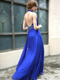 Glamorous Sheath/Column Chiffon Halter Sequin Evening/Prom Dresses