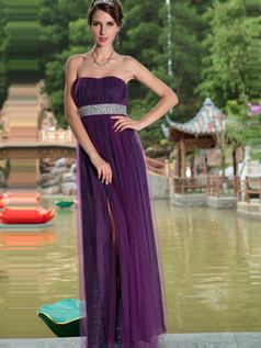 Glamorous Sheath/Column Tulle Tube Top Sequin Evening/Prom Dresses