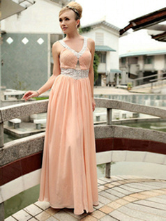Gorgeous A-line Chiffon Floor-length Beading Evening/Prom Dresses