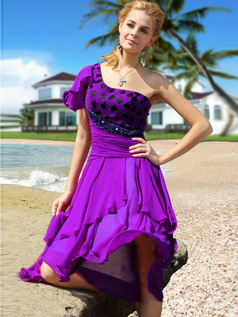 Gorgeous A-line Chiffon One shoulder Asymmetrical Train Cocktail/Prom Dresses