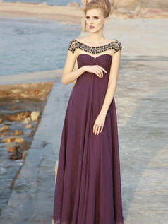 Gorgeous A-line Chiffon Jewel Crystal Prom/Evening Dresses