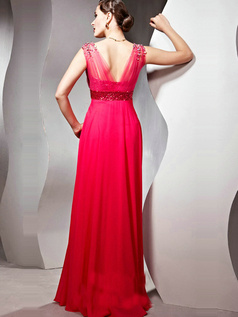 Gorgeous A-line V-neck Straps Floor-length Crystal/Rhinestone Chiffon Evening Dresses