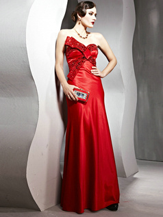 Gorgeous Sheath/Column Asymmetrical Collar Floor-length Beading Evening/Prom Dresses