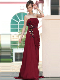 Gorgeous Sheath/Column Tube Top Sweep/Brush Train Flower Evening/Prom Dresses
