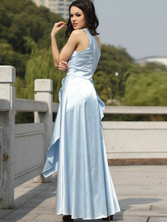 Graceful A-line Taffeta One shoulder Crystal Evening/Prom Dresses
