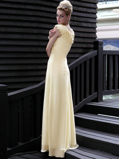 Graceful Sheath/Column Chiffon Round Brought Floor-length Prom/Evening Dresses