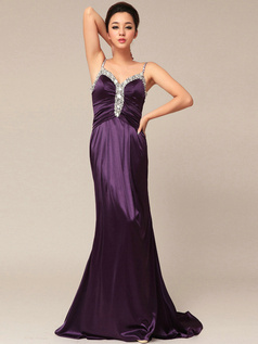 Graceful Sheath/Column Satin Straps Beading Evening/Prom Dresses