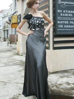 Graceful Sheath/Column Stretch Satin One shoulder Floor-length Evening/Prom Dresses