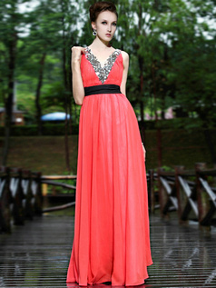 Graceful Sheath/Column V-neck Sweep Beading Evening Dresses