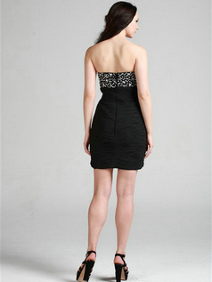 Great Sheath/Column Chiffon Short/Mini Crystal Cocktail Dresses
