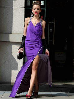 Great Sheath/Column Satin V-neck Halter Sequin Prom Dress