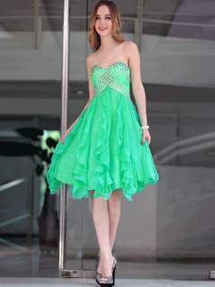Happiness A-line Sweetheart Knee-length Cascading Ruffle Prom/Cocktail Dresses