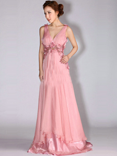Happiness Promise A-line Chiffon V-neck Flower Prom/Evening Dresses