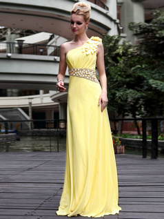 Happiness Sheath/Column Chiffon One shoulder Flower Prom/Evening Dresses