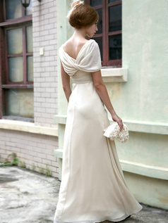 Happiness Sheath/Column Chiffon V-neck Tiered Evening Dresses