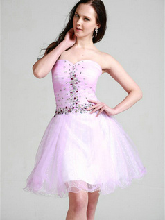 Lovely A-line Tulle Sweetheart Short/Mini Cocktail/Homecoming Dresses