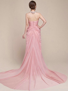 Lovely Sheath/Column Chiffon V-neck Halter Beading Sequin Evening Dress
