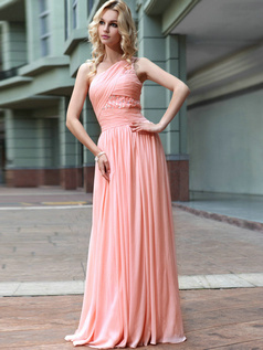 Lovely Sheath/Column One shoulder Floor-length Prom/Evening Dresses