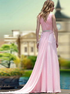 Lovely Sheath/Column V-neck,Straps Watteau Train Draped Evening Dresses