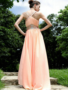 Noble A-line Chiffon Floor-length Beading Evening/Prom Dresses