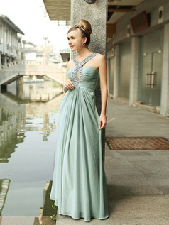 Noble A-line Chiffon Floor-length Criss-cross Prom/Evening Dresses
