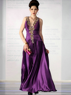 Noble A-line Elastic Silk-like Satin V-neck Sequin Prom/Evening Dresses