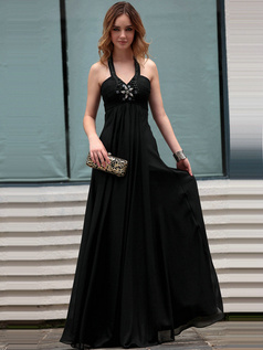 Noble A-line Halter Floor-length Crystal/Rhinestone Chiffon Evening Dresses