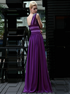 Noble A-line One shoulder Floor-length Draped Chiffon Evening Dresses