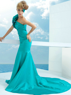 Noble Mermaid/Trumpet Satin One shoulder Flower Prom Dresses
