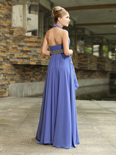 Noble Sheath/Column Chiffon Halter Floor-length Evening/Prom Dresses